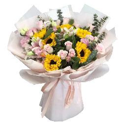 21朵戴安娜粉玫瑰向日葵,靓丽的美好世界