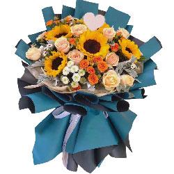 5朵向日葵玫瑰,驻足欣赏的风景