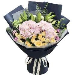 21朵香槟玫瑰绣球花,我在乎你爱你