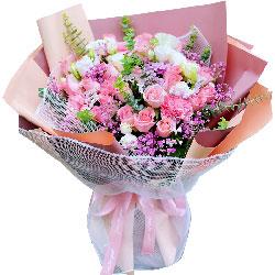 16朵戴安娜粉玫瑰康乃馨,彼此关心和呵护