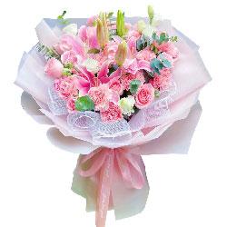 9朵戴安娜粉玫瑰康乃馨,美丽健康幸福