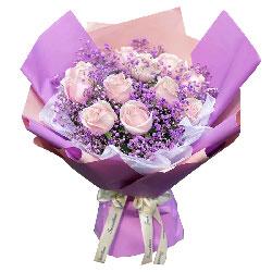 11朵粉色佳人粉玫瑰,心中所爱只是你