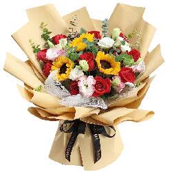 12朵红玫瑰,3朵向日葵,祝您永远快乐安康