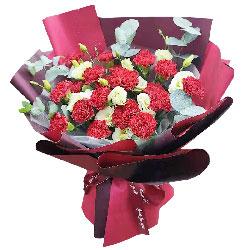 19朵红色康乃馨桔梗,向您致敬