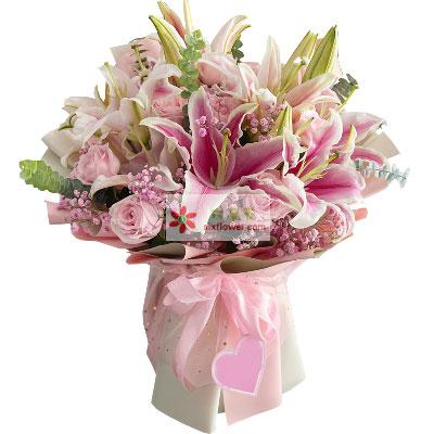 11朵粉玫瑰4支粉色多头百合,愿与你长相厮守