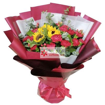 18朵红色康乃馨向日葵,深深的问…