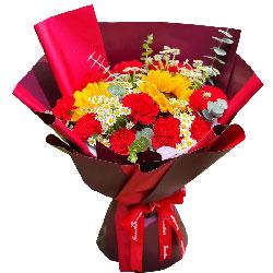 11朵红色康乃馨向日葵,祝福你开心快乐