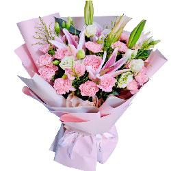 22朵粉色康乃馨百合,祝您开心快乐
