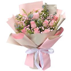 11朵戴安娜粉玫瑰,接受我的爱