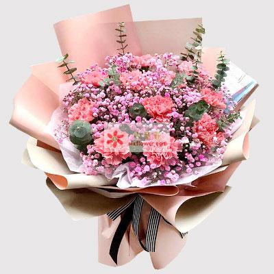 11朵粉色康乃馨满天星,祝您节日快乐