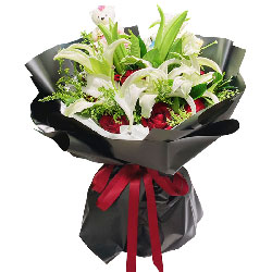 11朵红玫瑰百合,用心去爱你
