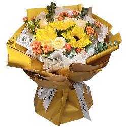 3朵向日葵,6朵香槟玫瑰,感谢您的付出