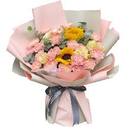 18朵粉色康乃馨向日葵,永远年轻