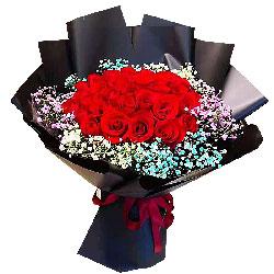 18朵红玫瑰满天星,爱你惊天动地
