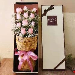 11朵戴安娜粉玫瑰礼盒,爱的祝福