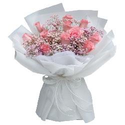 11朵戴安娜粉玫瑰粉色满天星,与你不离不弃