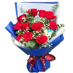 11朵红玫瑰满天星,有你生活美好