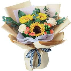 3朵向日葵香槟玫瑰,您的爱是我默默的支持