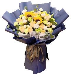 11朵香槟玫瑰向日葵桔梗,爱是一世一生