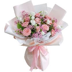 11朵戴安娜粉玫瑰桔梗,此生最最最疼爱的人