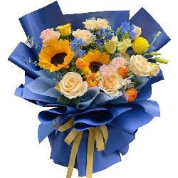 2朵向日葵,9朵香槟玫瑰,祝你笑意一如往昔