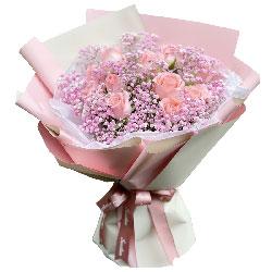 12朵戴安娜粉玫瑰,有你真好
