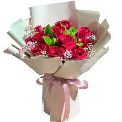 11朵红玫瑰满天星,幸福的爱送给你