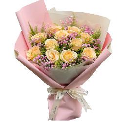 11朵香槟玫瑰满天星,事业爱情双赢