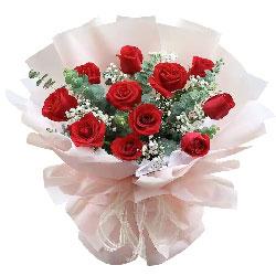 11朵红玫瑰满天星,给你一生的微笑