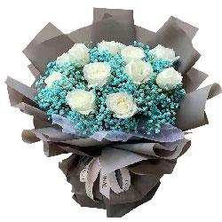 11朵白玫瑰满天星,爱你的心重未改变