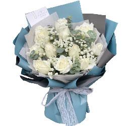 11朵白玫瑰满天星,幸福快乐一辈子