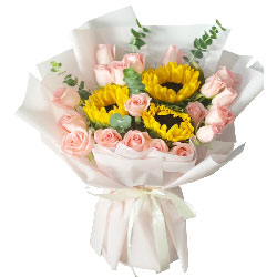 19朵戴安娜粉玫瑰向日葵,走向未来