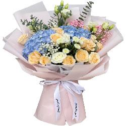 19朵玫瑰绣球花,情意两绵绵