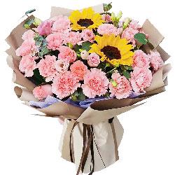 19朵粉色康乃馨向日葵,无限的祝福