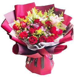 16朵红玫瑰百合,相思已成网