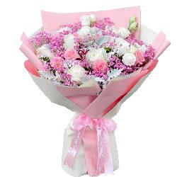 19朵玫瑰,粉玫瑰白玫瑰混搭,最爱你的人