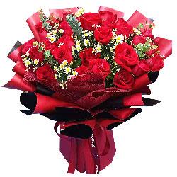 29朵红玫瑰洋甘菊搭配,人生有你而精彩
