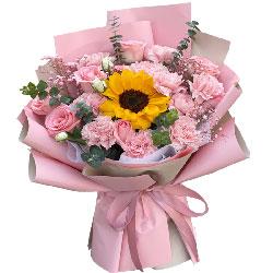11朵粉色康乃馨粉玫瑰向日葵,信步风雨人生