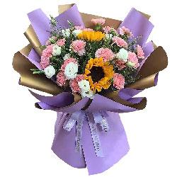 19朵粉色康乃馨向日葵,幸福无边