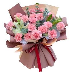 18朵粉色康乃馨百合,成长路上的感恩