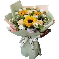 3朵香槟玫瑰向日葵桔梗,永远爱您