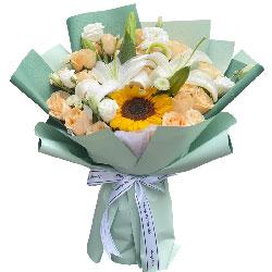 19朵香槟玫瑰向日葵,美好的祝福