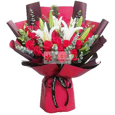 19朵红玫瑰百合,爱你一生