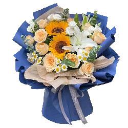 11朵香槟玫瑰向日葵百合,永葆青春