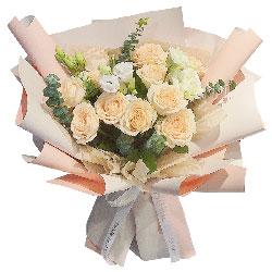 11朵香槟玫瑰桔梗,爱和祝福与你同在