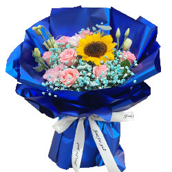 11朵戴安娜粉玫瑰向日葵,祝福你天天快乐