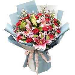 22朵红色康乃馨百合,一切美好的祝福