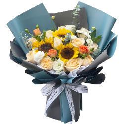 11朵香槟玫瑰向日葵,幸福永随