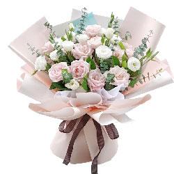 11朵粉色佳人玫瑰桔梗,幸福人生