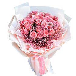 16朵戴安娜粉玫瑰康乃馨,最美好的回忆